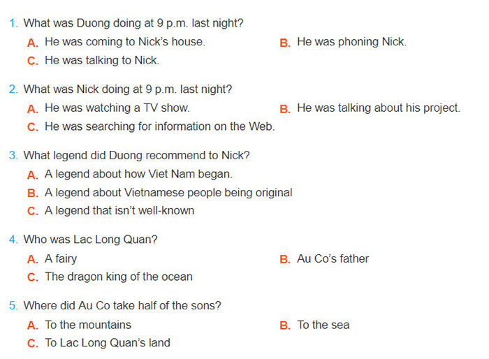 tieng-anh-lop-8-moi.unit-6.Getting-Started.1.-Listen-and-read.a. Read the conversation again and choose the correct answers