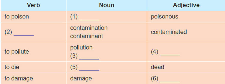 tieng-anh-lop-8-moi.unit-7.A Closer Look 1.1. Complete the table with appropriate verbs, nouns, and adjectives