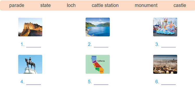 tieng-anh-lop-8-moi.unit-8.A-Closer-Look-1.4. Match the words/ phrases with the pictures