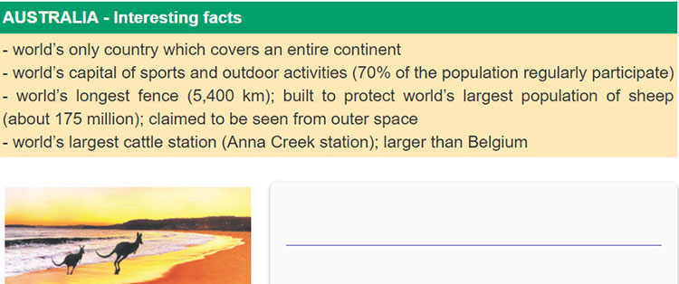 tieng-anh-lop-8-moi.unit-8.Skills-1.5. Work in groups. Read and discuss these interesting facts about Australia. Prepare a short introduction of Australia. Then present it to the class