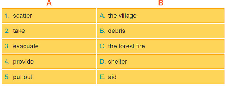 tieng-anh-lop-8-moi.unit-9.A-Closer-Look-1.2. Match the verb in column A to the nouns in column B. Then listen, check and repeat