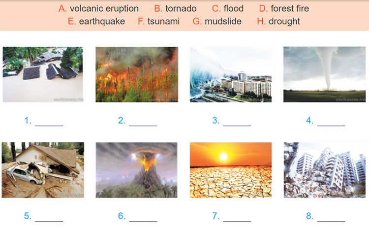 tieng-anh-lop-8-moi.unit-9.Getting-Started.3. Match the natural disasters with the pictures. Then listen, check your answers and repeat. Can you add more
