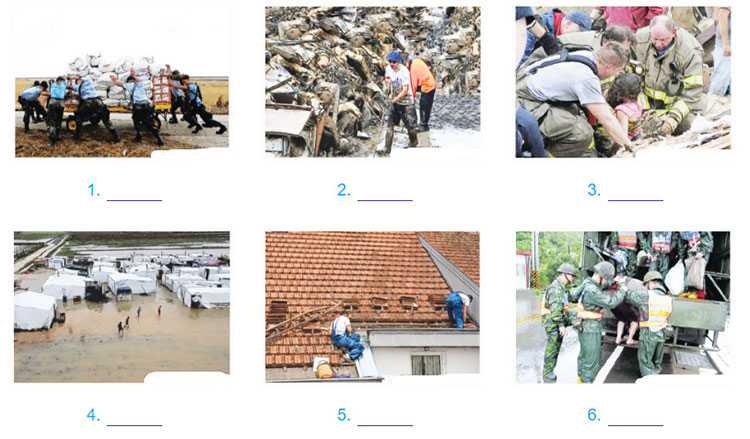 tieng-anh-lop-8-moi.unit-9.Project.1. These are activities aiming to provide aid for victims of natural disasters. Write a phrase to describe each picture