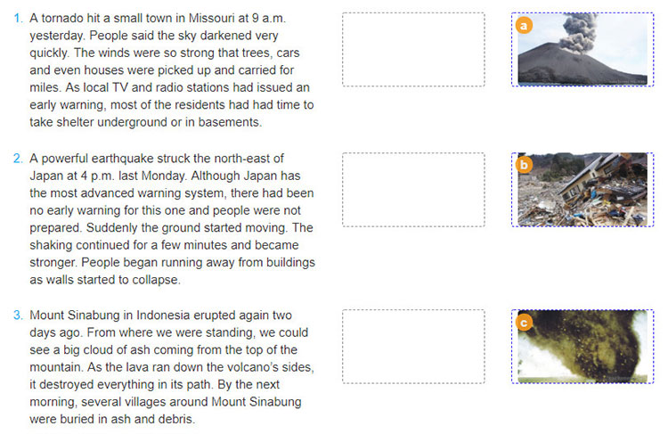 tieng-anh-lop-8-moi.unit-9.Skills-1.3. a. Read the news reports (A-C) and match each one to the correct picture (1-3)