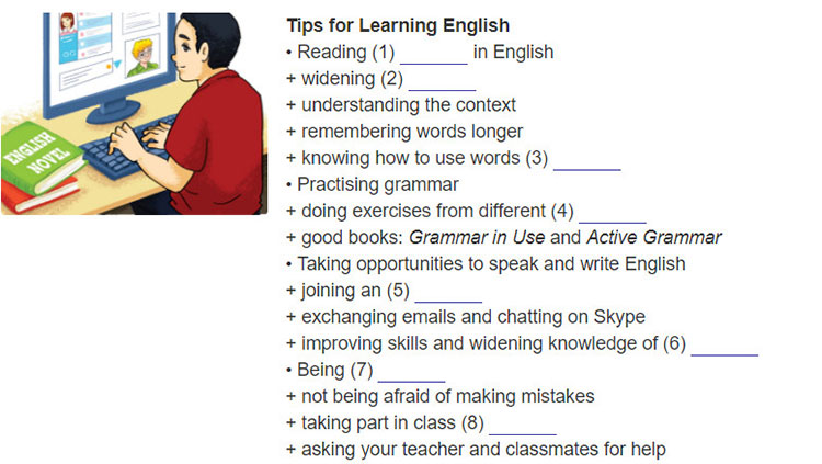 tieng-anh-lop-9-moi.Review-3–Unit-7,-8,-9.Skills.3. Listen to Hung giving a presentation on his tips for learning English well. Complete the listener's notes. Use no more than THREE words for each blank