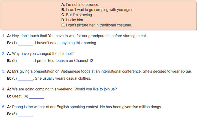 tieng-anh-lop-9-moi.Review-3-–-Unit-7,-8,-9.-Language.7. Complete each short dialogue with a sentence in the box