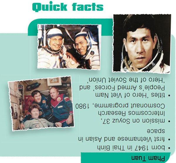 tieng-anh-lop-9-moi.unit-10.Skills 1.1. Do you recognise the Vietnamese astronaut in these photos? Discuss with a partner what you know about him. Then turn the page around and read the Quick Facts box
