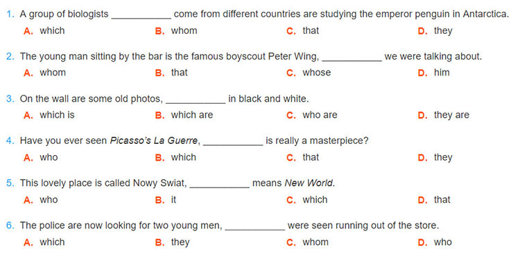 tieng-anh-lop-9-moi.unit-11.Looking-Back.3. Choose the correct answer A, B, C, or D to complete the sentences