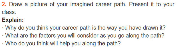 tieng-anh-lop-9-moi.unit-12.Project.2. Draw a picture of your imagined career path. Present it to your class