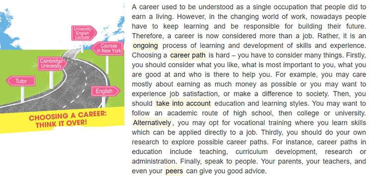 tieng-anh-lop-9-moi.unit-12.Skills 1.1. Discuss the questions. Read the article from a career guide website and check your answers