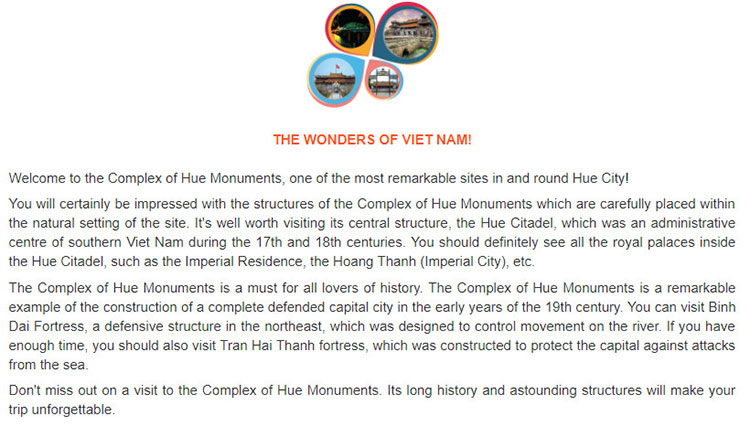 tieng anh lop 9 moi.unit 5.Project.Task 1. Read this promotional brochure about a man-made wonder of Viet Nam.