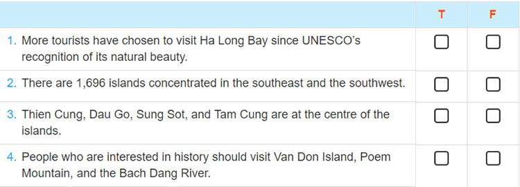 tieng anh lop 9 moi.unit 5.Skills 2.Task 1. Listen to what a tourist says about Ha Long Bay and decide whether the following statements are true (T) or false (F)