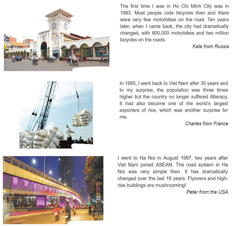 tieng anh lop 9 moi.unit 6.Communication .1. Read the posts on Viet Travel Forum (VTF) from people who visited Viet Nam a long time ago