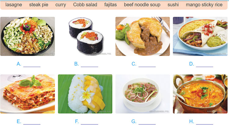 tieng-anh-lop-9-moi.unit-7.Getting-Started.2. Write the name of each dish in the box under each picture