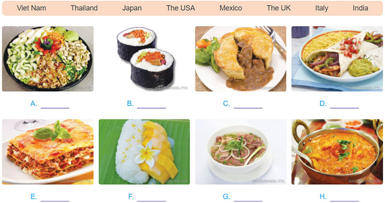 tieng-anh-lop-9-moi.unit-7.Getting-Started.3. a. In pairs, discuss which country from the box is associated with each dish in 2