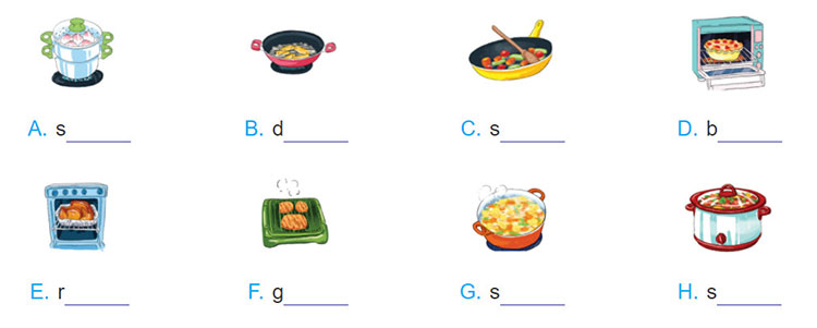 tieng-anh-lop-9-moi.unit-7.Looking-Back.2. Write a verb for a cooking method under each picture. The first letter has been provided