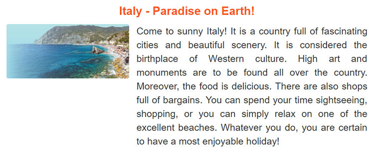 tieng-anh-lop-9-moi.unit-8.Project.1. Read the following advertisement for a holiday in Italy