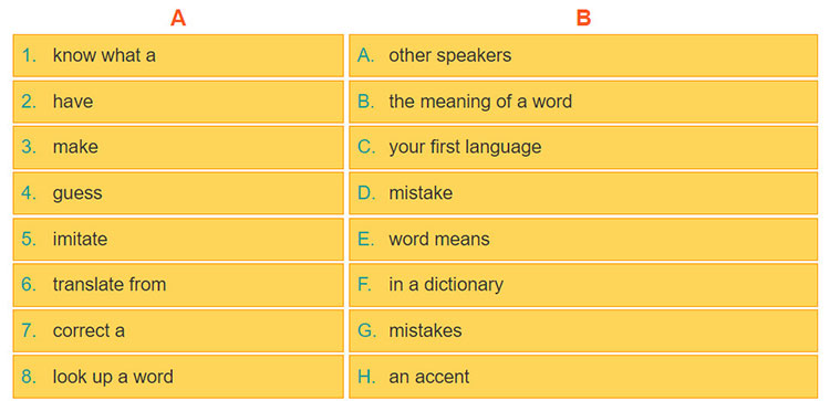 tieng-anh-lop-9-moi.unit-9.A-Closer-Look-1.3.a Match the words/phrases in the column A with the words/phrases in the column B to make expressions about language learning