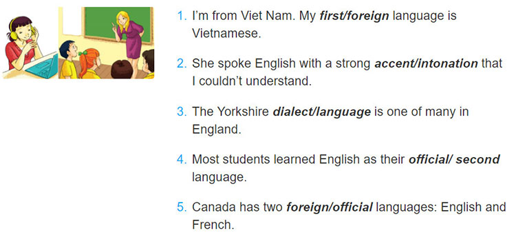tieng-anh-lop-9-moi.unit-9.Looking Back.1. Underline the correct word in each sentence