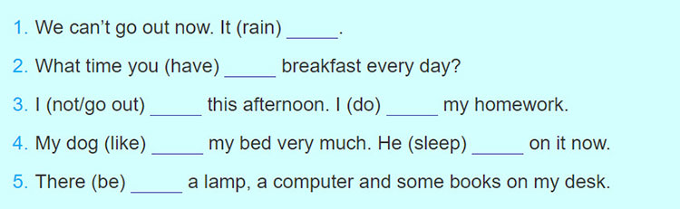 tieng-anh-lop-6-moi.Review-1.Unit-1,-2,-3.Language.6. Complete the sentences with the present simple or the present continuous form of the verbs in brackets