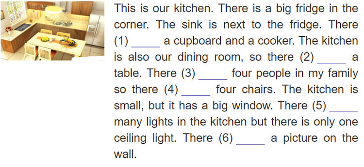tieng-anh-lop-6-moi.Unit-2.A-Closer-Look-2.4. Write is/isn't/are/aren't in each blank to describe the kitchen in Mi's house