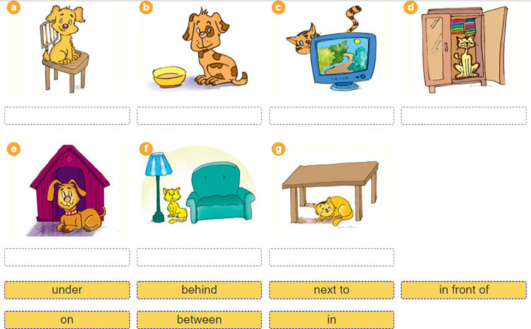 tieng-anh-lop-6-moi.Unit-2.Getting-Started.2. Match the prepositions with the pictures