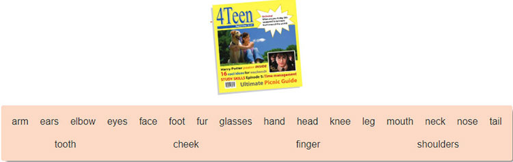tieng-anh-lop-6-moi.Unit-3.A Closer Look 1.1. Match the words with the pictures on the cover page of 4Teen magazine. Listen, check and repeat the words