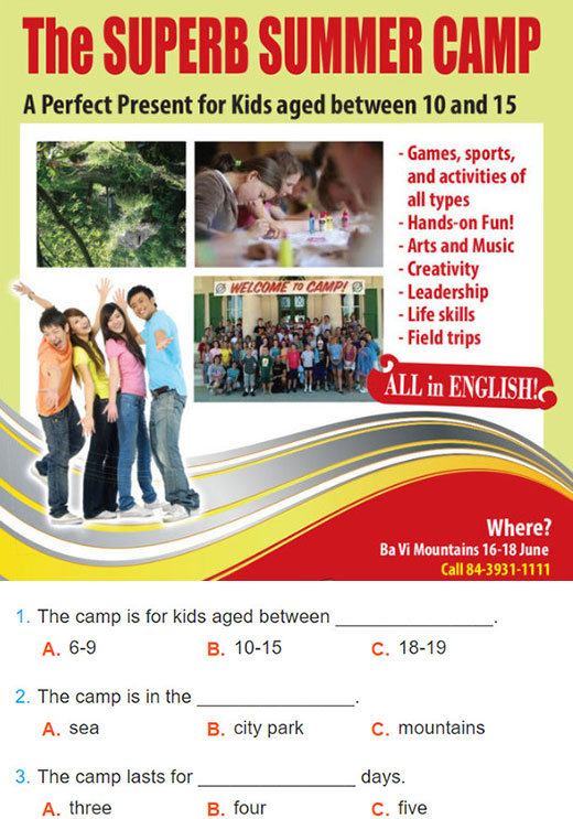 tieng-anh-lop-6-moi.Unit-3.Skills 1.1. Read the advertisement for the Superb Summer Camp and choose the best answer