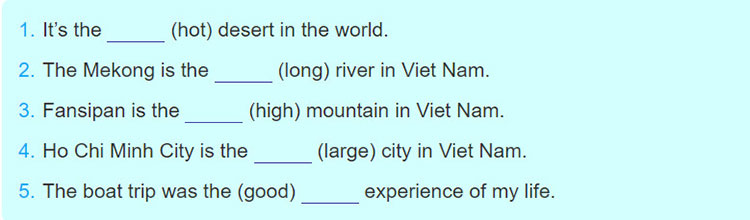 tieng-anh-lop-6-moi.Unit-5.Looking-Back.3. Fill the gaps in the following sentences