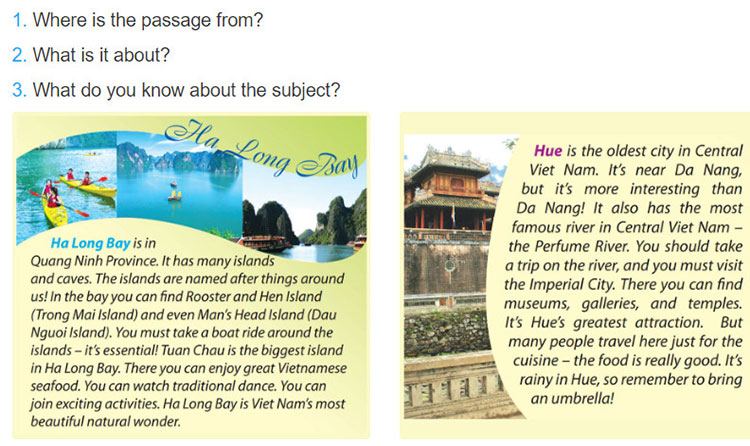 tieng-anh-lop-6-moi.Unit-5.Skills 1.1 Before you read, look at the pictures below and make predictions about the text. Then read and check your ideas