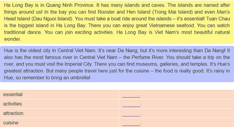 tieng-anh-lop-6-moi.Unit-5.Skills-1.2. Find these words in the passages in 1, then check their meaning