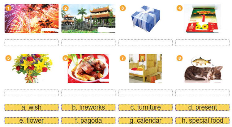 tieng-anh-lop-6-moi.Unit-6.A Closer Look 1.2. Work in groups. Label the pictures with the words in 1