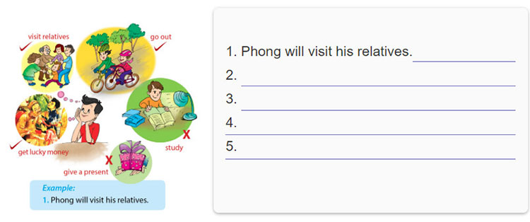 tieng-anh-lop-6-moi.Unit-6.A-Closer-Look-2.7. Phong is thinking about his Tet. Write sentences about what he will and won't do