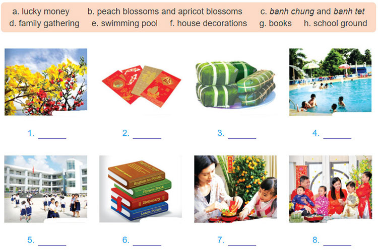 tieng-anh-lop-6-moi.Unit-6.Getting-Started.4 Write the words/phrases in the box under the appropriate pictures