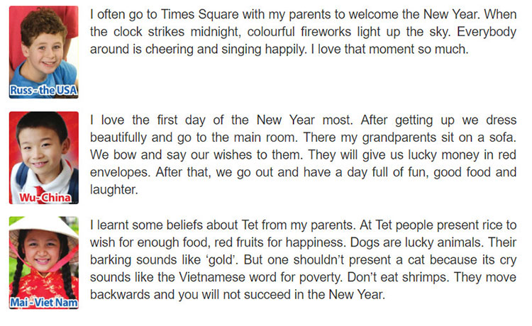 tieng-anh-lop-6-moi.Unit-6.Skills 1.1. Children in different countries are talking about their New Year. Read the passages
