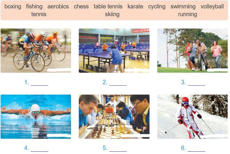 tieng-anh-lop-6-moi.Unit-8.Getting-Started.3. Using the words in 2, name these sports and games