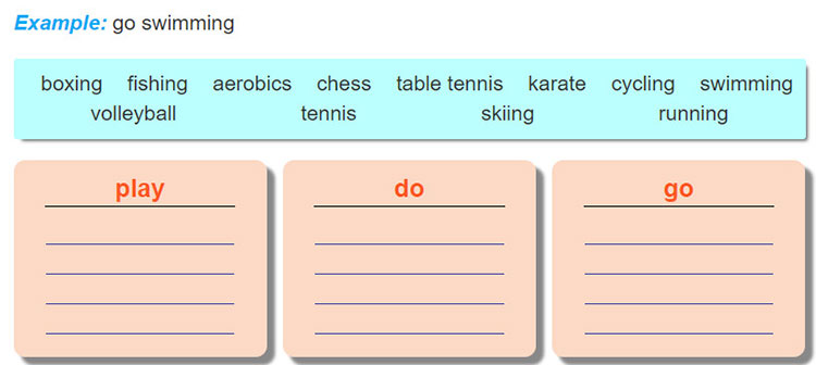 tieng-anh-lop-6-moi.Unit-8.Getting-Started.4. Work in pairs. Put the words from 2 in the correct groups
