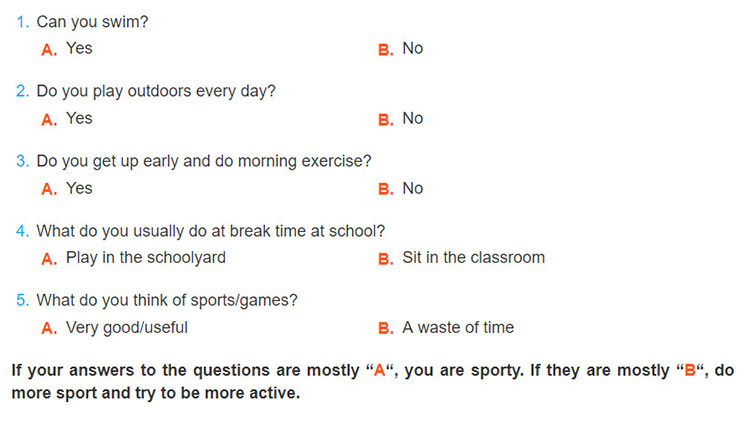 tieng-anh-lop-6-moi.Unit-8.Getting-Started.6. Work in pairs. Ask your partner these questions to find out how sporty they are