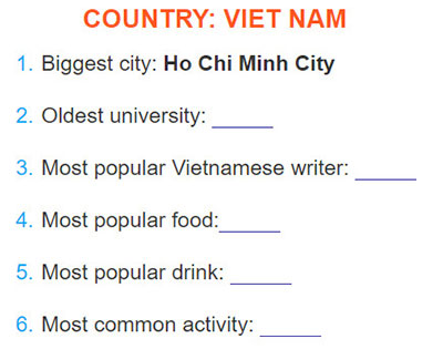 tieng-anh-lop-6-moi.Unit-9.Looking-Back.3. In pairs, complete this fact sheet about Viet Nam