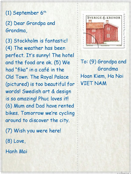 tieng-anh-lop-6-moi.Unit-9.Skills-1.2. Read the postcard and answer the questions