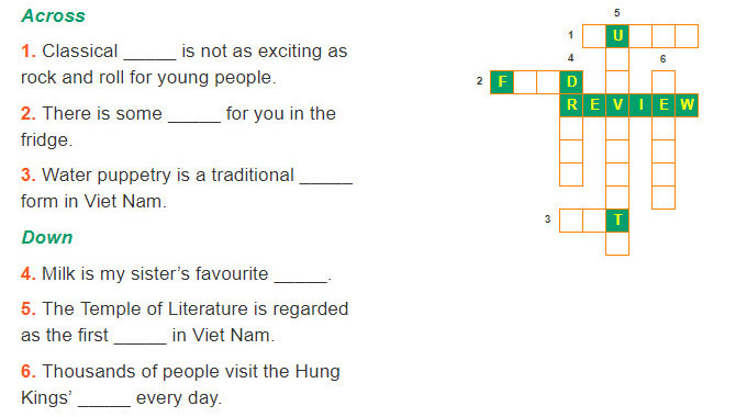 tieng-anh-lop-7-moi.Review-2.Unit-4,-5,-6.Language.2. Do the crossword puzzle and complete the sentences