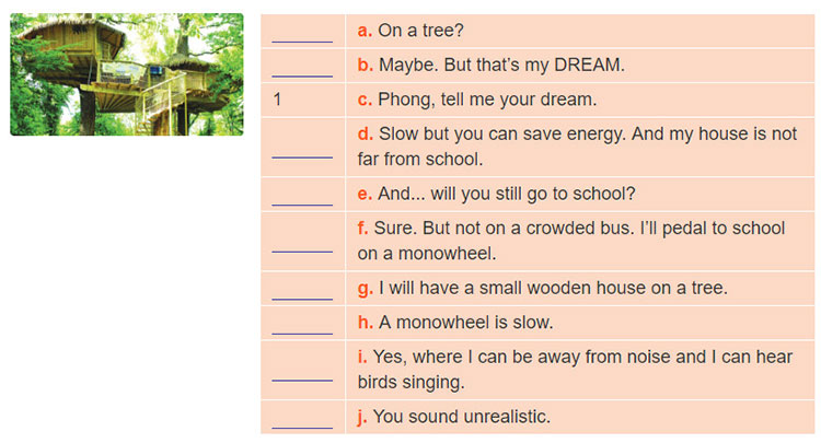 tieng-anh-lop-7-moi.Review-4.Unit-10,-11,-12.Language.5. Put the sentences in the right order to form a conversation