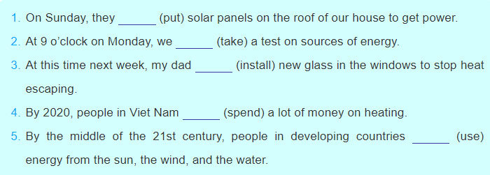 tieng-anh-lop-7-moi.Unit-10.A-Closer-Look-2.1. Complete the sentences using the future continuous form of the verbs in brackets