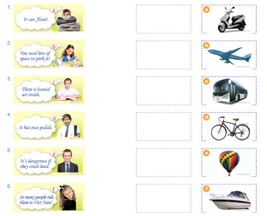 tieng-anh-lop-7-moi.Unit-11.A-Closer-Look-1.2. The students are thinking of means of transport. Can you match the students with the transport