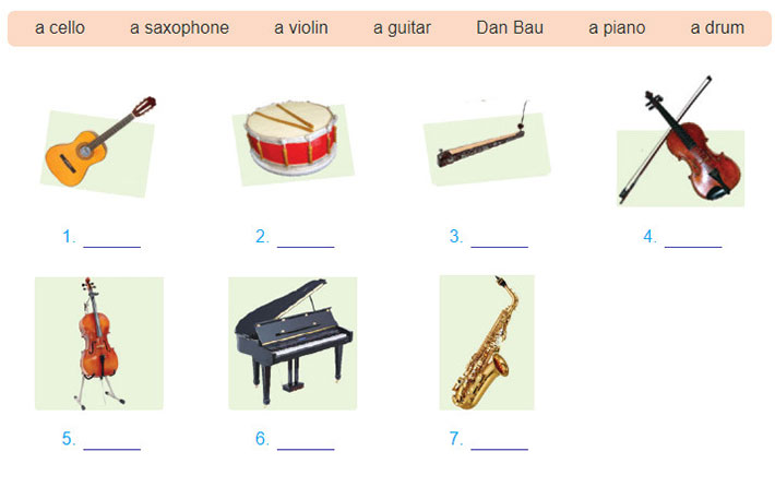 tieng-anh-lop-7-moi.Unit-4.A-Closer-Look-1.3. b.Write the type of musical instruments in the box under each picture
