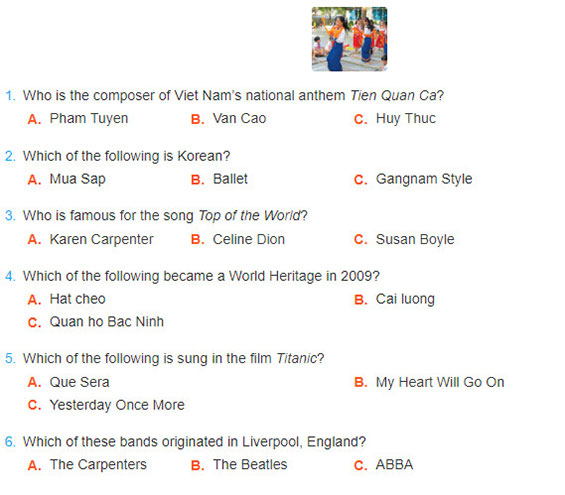 tieng-anh-lop-7-moi.Unit-4.Communication.1. Music Quiz: What do you know? Work in groups and answer the questions