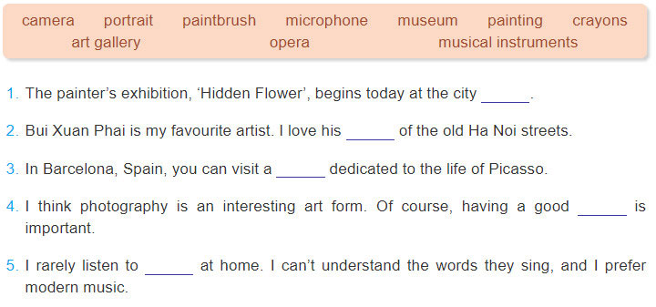 tieng-anh-lop-7-moi.Unit-4.Getting Started.3. Complete these sentences with words from 2