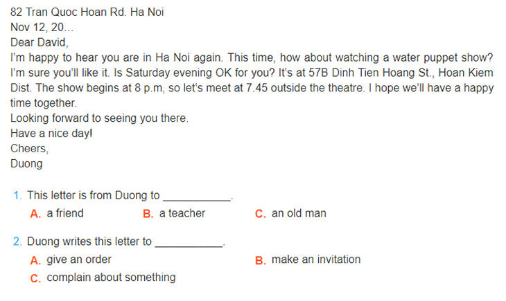 tieng-anh-lop-7-moi.Unit-4.Skills-2.4. Read the following letter and choose the correct answer