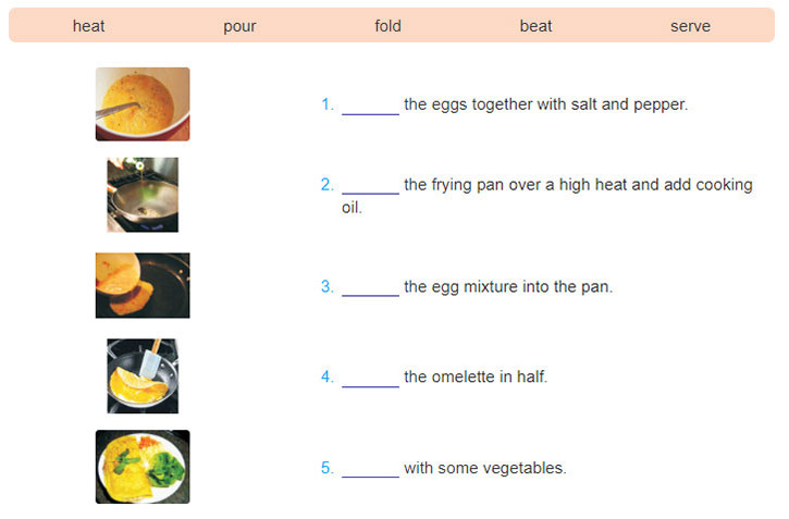 tieng-anh-lop-7-moi.Unit-5.A Closer Look 1.1. Look at the pictures and complete the instructions with the verbs in the box