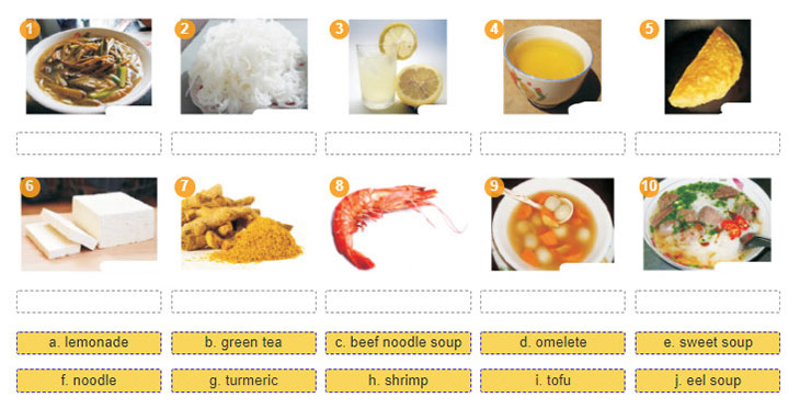 tieng-anh-lop-7-moi.Unit-5.Getting Started.2. Match the food and drink with the pictures